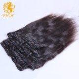 Kinky clip recto en extensiones del pelo humano Clip 7A italiana grueso Yaki del pelo humano de la Virgen brasileña del pelo de la extensión
