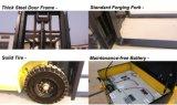 Cuatro carretillas elevadoras de la carretilla elevadora de las ruedas con el neumático del sólido del motor de la C.C.
