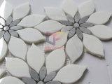 Het grijze en Witte Marmeren Mozaïek van de Bloem voor de Binnenlandse Decoratie van de Muur (CFS1180)