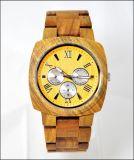 도매 형식 새로운 빨강 백단향 손목 시계 나무로 되는 시계 날짜 팔찌 석영 시계