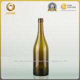 Мертвая бутылка красного вина зеленого цвета 750ml Burgundy листьев с алюминиевой крышкой (592)