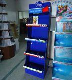 Kundenspezifische Fußboden-Bildschirmanzeige mit 4 Regalen, Papierausstellungsstand, Fußboden-stehendes Bildschirmgerät, Gegenbildschirmgerät,