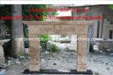 Antique pedra travertino lado Carving lareira de mármore (SY-MF239)