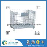 Entrepôt électronique pliable en acier galvanisé de Wire Mesh cage de stockage
