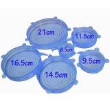 Комплект еды 6 голубых супер крышек крышки силикона простирания многоразовой оборачивает инструменты кухни уплотнения прочные