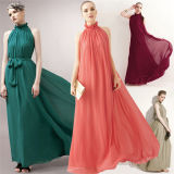 Femmes High Neck Halter Chiffon Long Party Dress avec Belt