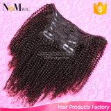 Alibabaの毛の拡張、7PCS/Setの機械を作る120gヘアークリップのインドのバージンの毛のアフリカのねじれた巻き毛クリップ