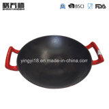 Wok tradizionale cinese del ghisa dello smalto con la doppia maniglia
