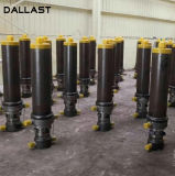 De simple efecto cromado de largo recorrido cilindro hidráulico de volquete