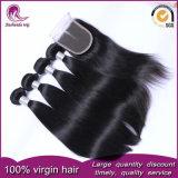 I capelli umani di vendita caldi del Virgin Burmese tessono con la chiusura del merletto