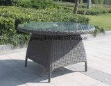 セットを食事する柳細工の家具5部分の円卓会議アーム椅子の
