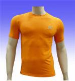 T-shirt plat de gymnastique de vêtements de sport de Spandex/polyester pour les hommes
