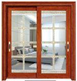 Dos pistas de vidrio templado de Exterior puertas correderas de aluminio