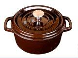 Batterie de cuisine chaude de bac de ragoût de cocotte en terre d'émail de fer de moulage d'admission de vente