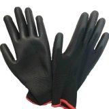 Защита от электростатических разрядов PU покрытием 13 указатели вязаные рукавицы черного цвета