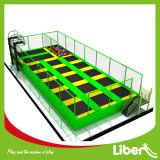 Grappige de jonge geitjes genieten het Springen van de Arena van de Trampoline met Basketbal onderdompelt