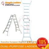 Aluminio funcional de la fábrica 2*6 plegable la escala plegable de la escalera de la extensión telescópica