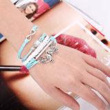 Braccialetto tessuto cuoio romantico di parola d'accesso del cuore del carattere del Lovebird 8 del braccialetto retro