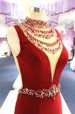 Vestido de noite vermelho feito malha Wgf137 da sereia