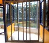 二重ガラスをはめられる木の穀物外部ドアを滑らせる