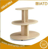 5 niveles de soporte de la pantalla de madera redondo, mostrar la tabla
