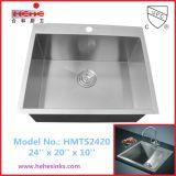 Taça único Lavar Loiça com Topmount artesanais, Instalação do dissipador de artesanato, pia de cozinha (HMTS2420)