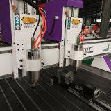 Marcação ce de cabeça dupla gravura CNC para trabalhar madeira Máquina com eixo de rotação