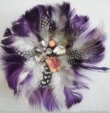Мода домашний ручной работы головные уборы ремесел фиолетовый перья декоративные цветы