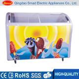Congelador curvado da caixa da porta de vidro de deslizamento