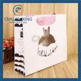 Bolso de papel blanco del agujero del sacador con la impresión de encargo (DM-GPBB-118)