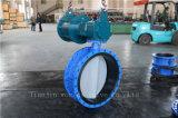 Válvula de borboleta flangeada dobro atuada pneumática com o disco de nylon da pintura