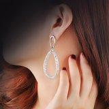 모조 보석 굴렁쇠 디자인 여자를 위한 금에 의하여 도금되는 모조 다이아몬드 귀걸이