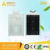 Nuevo IP65 15W en una sola calle la luz solar lámpara de jardín con la vida de la batería de PO4