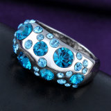Anillo de imitación del cristal del Rhinestone del oro blanco de la joyería de la manera