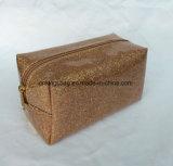 Schitter Make-up Bags&Cases, Kosmetische Zakken van de Reis van de Dames van Pu de Kaki