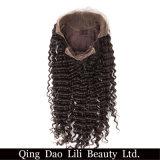 Lili salão cheio de Lace Perucas Onda profunda Remy cabelos tingidos nós 100% de cabelo humano com a linha natural do cabelo Guleless