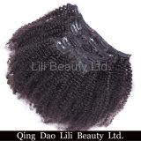 Clip riccia crespa 100% del commercio all'ingrosso del Virgin di Afro brasiliano poco costoso dei capelli umani nelle estensioni dei capelli