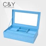 Коробка хранения ювелирных изделий бархата девушок детей голубая
