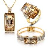 Mujeres del diseño de la suposición del Rhinestone del oro del saudí Wedding el conjunto de la joyería