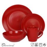 ensemble de dîner 16PCS en céramique coloré mat rond rouge