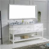 Vanità della stanza da bagno di legno solido del doppio dispersore con il controsoffitto di marmo