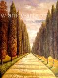 El chino hechas a mano de pintura al óleo paisaje de carretera forestal para la venta al por mayor