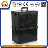 En PVC noir maquillage cosmétiques train sur roues de cas (HB-1303)