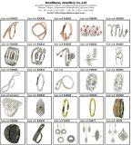 純銀製のラインストーンの女性メンズが付いている熱い販売の金は卸し売り宝石類R10484を鳴らす