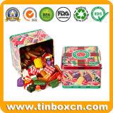 Estaños cuadrados del caramelo de la confitería de los dulces del metal para el rectángulo de empaquetado del regalo