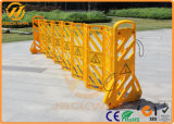 Желтый расширяемый пластичный барьер дороги для управления толпы
