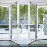 Porte française oscillation en aluminium en verre Inférieure-e de porte extérieure de prix usine de double