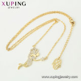 44480 El encanto de la moda de la Cruz Joan Gold-Plated 14K de aleación de cobre de imitación de la cadena de joyas collar