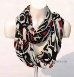 Geometic noir imprimé en bambou naturel Lady foulard (Hz52)