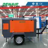 Compresor de aire movible diesel del tornillo para la voladura sin polvo de la fábrica de productos químicos